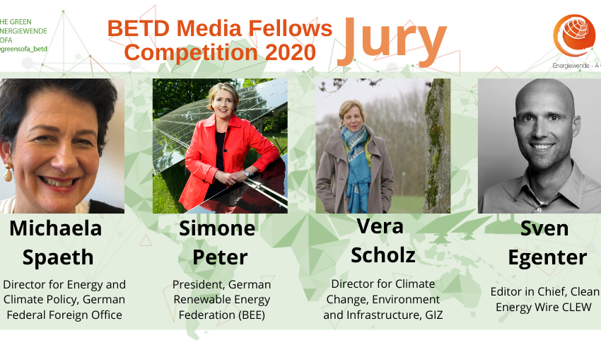 Meet the jury for the #betdfellows Media #competition:- @GERClimatEnergy, @GermanyDiplo- @peter_simone @bEEmerkenswert- Vera Scholz @giz_gmbh- @segenter @cleanenergywireStay tuned: winners to be announced on Monday, July 20!#betd2020 #Energiewende #GreenDeal #GreenRecovery https://t.co/XOq3o99MMv