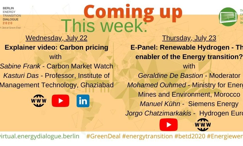 This week in the #betd2020 virtuel edition: 👉Explainer video on #CabonPricing Sabine Frank @CarbonMrktWatch & @kasturi_d @IMTGhaziabad👉#hydrogen panel: @geralbine @ManuelKuehn3 @Chatzimarkakis @H2Europe & Mohamed OuhmedTune in & #JointheDialoge! #GreenRecovery #GreenDeal https://t.co/DDucPiEbya