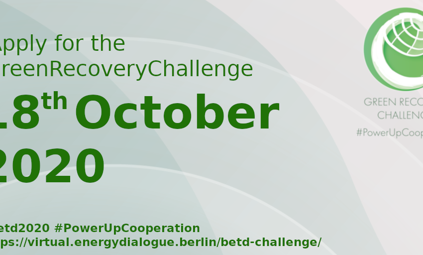 The #GreenRecoveryChallenge is calling for ideas, no matter how big or small (as long as they're green) to #PowerUpCooperation. How can international nations, institutions, corporations and societies work together to #BuildBackBetter? Join the Challenge: https://t.co/9RXMiNRuV8 https://t.co/jj5lOGgVcP