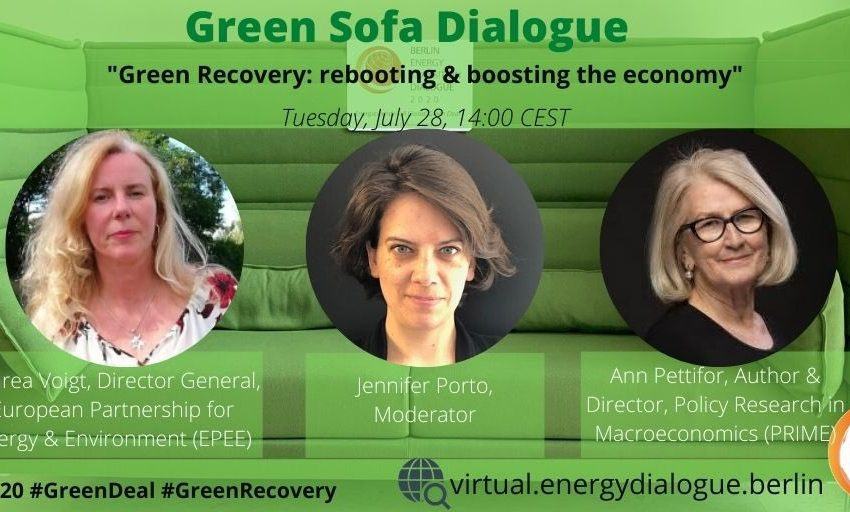 💚 On July 28th, 14:00 CEST, the 3rd #betd2020 Green Sofa Dialogue takes place! @jxporto will sit down with @AnnPettifor and Andrea Voigt @CountOnCooling  to discuss how #GreenRecovery can reboot & boost the #economy. Tune in!#betd2020 #JointheDialogue #womenonly #GreenDeal https://t.co/wk3v8IT7S3