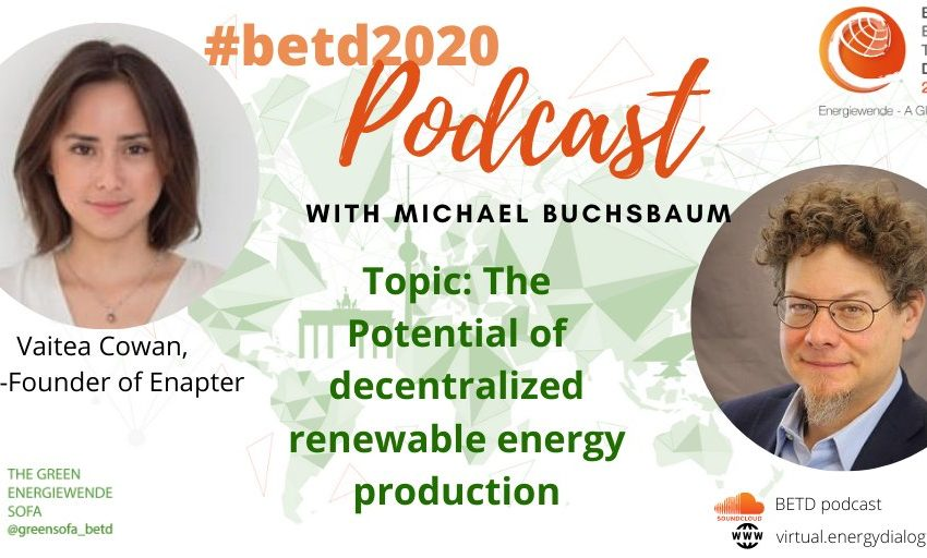 The new #betd2020 Podcast is online! @LMicalBuchsbaum sat down with @CoVaitea of @Enapter_ to talk about the potential of #decentralized #renewable h#hydrogen #production! Check it out on soundcloud or on our website! #betd2020 #greenhydrogenhttps://t.co/pdtxoaKAqH https://t.co/PMhMS7YUdK