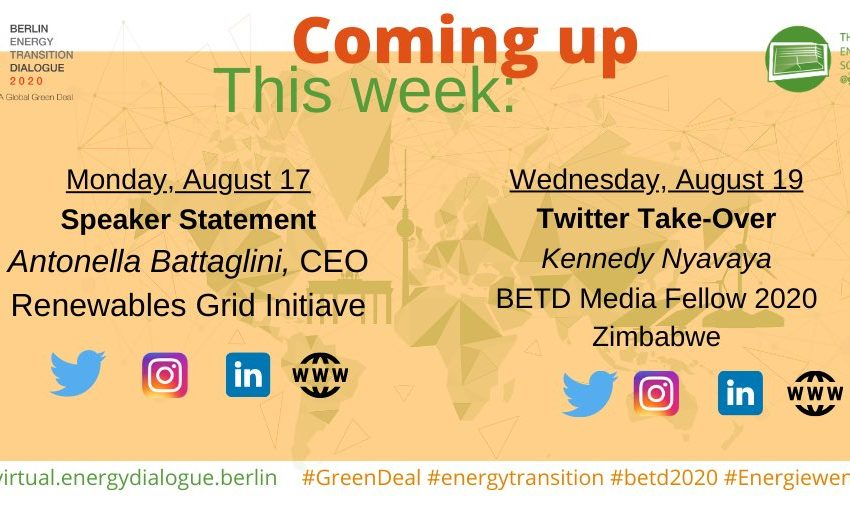 Coming up this week in the virtual #betd2020: A Speaker Statement in our #MondayMotivation and a Twitter Take-Over. Tune in! @thestandardzim @NewsDayZimbabwe @RenewablesGrid @envirogistzim #GreenDeal #GreenRecovery #Energiewende https://t.co/E9iR2A5yy9