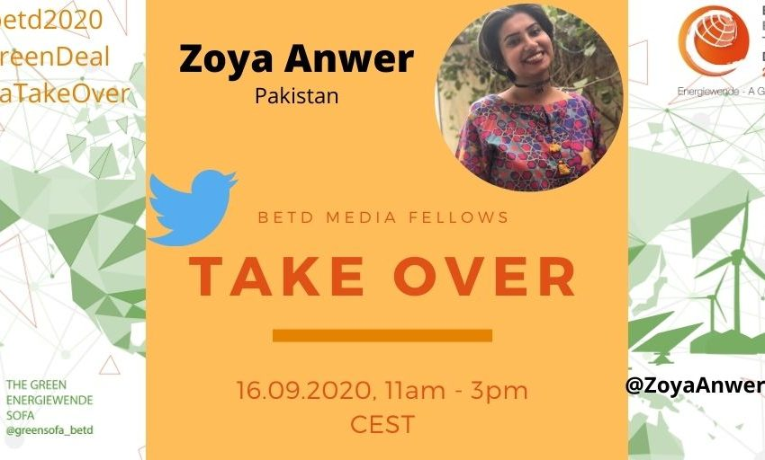 On Wednesday, September 16, Zoya Anwer, @ZoyaAnwerNaqvi #betdfellow 2020, will take over the Green Sofa Twitter Account from 11pm – 3 pm CEST. Zoya will give an overview on the #energysituation in #Pakistan! Follow her reporting! #betd2020 #SofaTakeOver #GreenDeal #GreenRecovery https://t.co/pqyjpMSz0y