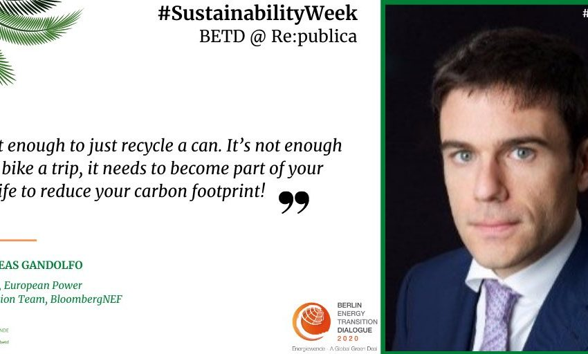 Andreas Gandolfo, Team Leader European Power Transition, @BloombergNEF, supports the #SustainabilityWeek! Together for the globa…