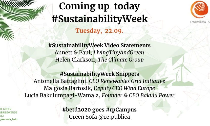 Coming up today in our #SustainabilityWeek: #VideoStatement with Annett & Paul, LivingTinyAndGreen, #VideoStatement with Hel…