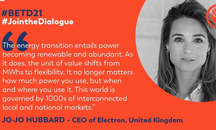 @greensofa_betd: Jo-Jo Hubbard @jojohubba , CEO of @ElectronDLT , confirmed to speak virtually at the 7th Berlin Energy Transition Dialogue about #SmartMarketDesigns for the #global #energytransition. #betd21 @BMWi_Bund @bEEmerkenswert @eclareon_Berlin @dena_news @BSWSolareV @GermanyDiplo